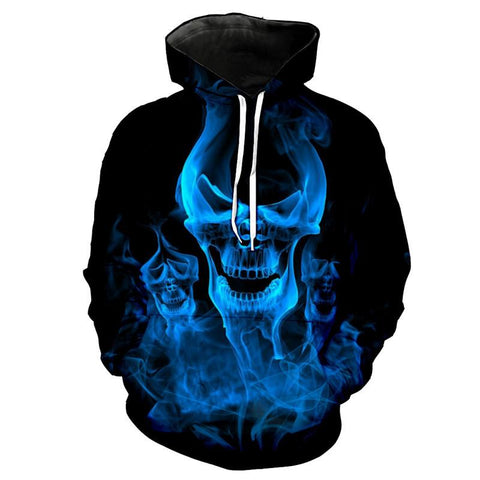 3D Dark Blue Flame Melted Skull Hoody for Men-TheGymnist
