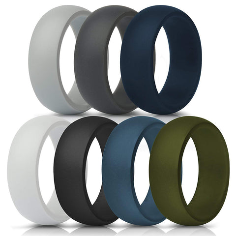 Silicone Rings for Men - 7 Pack, Comfortable & Durable Rubber Wedding Bands for Sports, Gym, Outdoors
