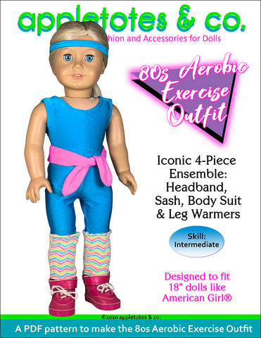 "80s Aerobic Exercise Outfit sewing pattern 18"" dolls"