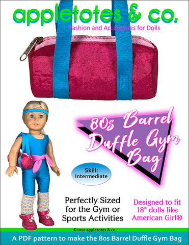 "80s duffle gym bag sewing pattern 18"" dolls"