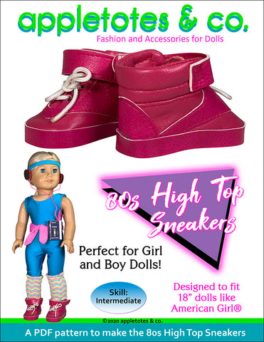 80s high top sneakers 18 inch doll pattern