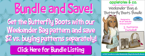 weekender bag and butterfly boots sewing pattern bundle