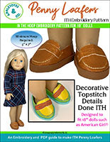 penny loafers 18 inch doll embroidery pattern