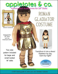 "roman gladiator halloween costume sewing pattern for 18"" dolls"