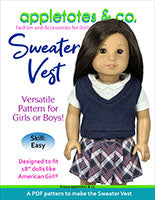 "free sweater vest 18"" doll sewing pattern"