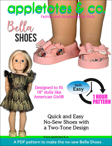 bella shoes 18 inch doll pattern