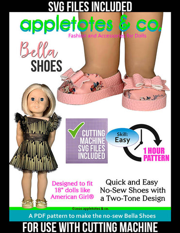 bella shoes svg included 18 inch doll pattern
