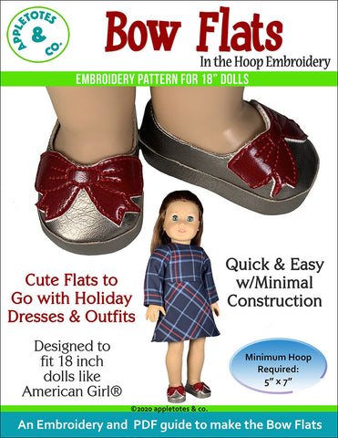 bow flats embroidery shoes pattern