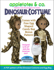 "dinosaur halloween costume sewing pattern for 18"" dolls"