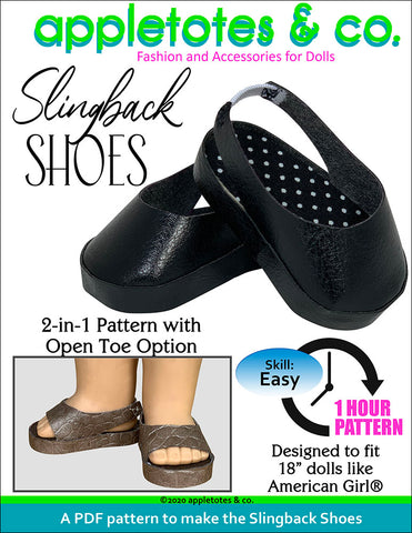 slingback shoes 18 inch doll pattern