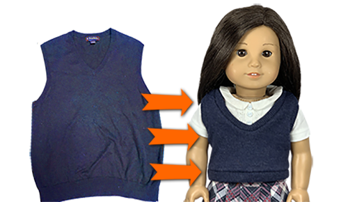 How to Upcycle Old Sweater into Cute Doll Vest