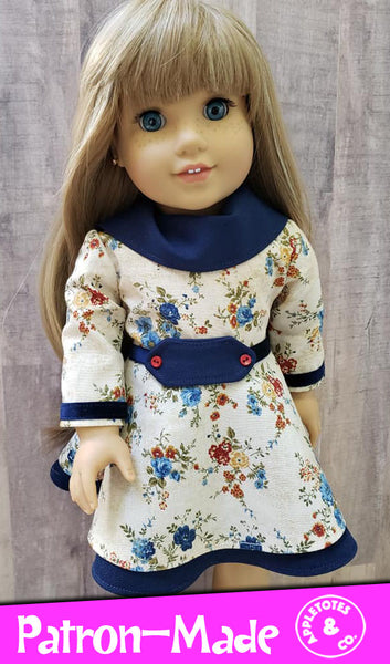 Sierra Dress Sewing Pattern for 18 Inch Dolls