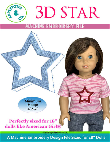 3D Star Machine Embroidery File for 18 Inch Dolls