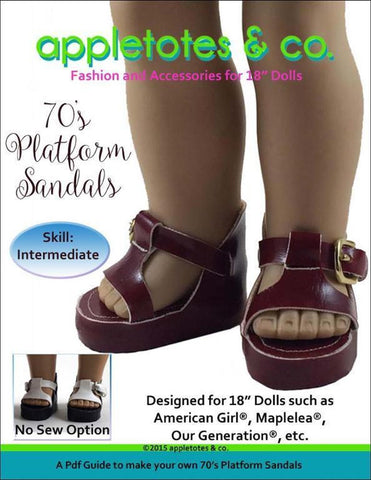 "70's Platform Sandals Sewing Pattern for 18"" Dolls"