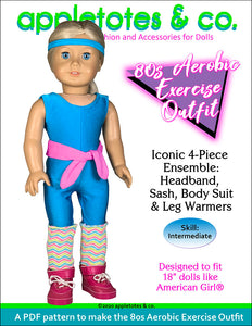 80s Aerobic Exercise Outfit Sewing Pattern 18 Inch Dolls