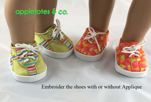 "Andi Sneakers ITH Embroidery Pattern for 18"" Dolls"