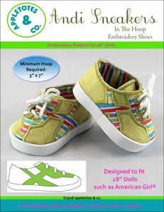"Andi Sneakers ITH Embroidery Patterns for 18"" Dolls"