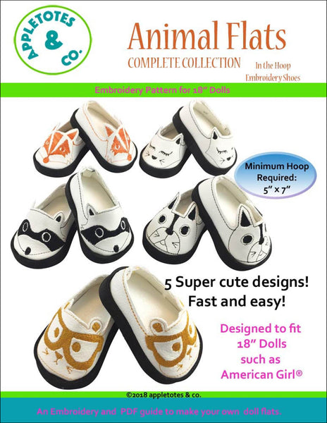 "Animal Flats Collection ITH Embroidery Patterns for 18"" Dolls"