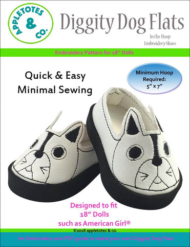 "Diggity Dog Flats ITH Embroidery Patterns for 18"" Dolls"