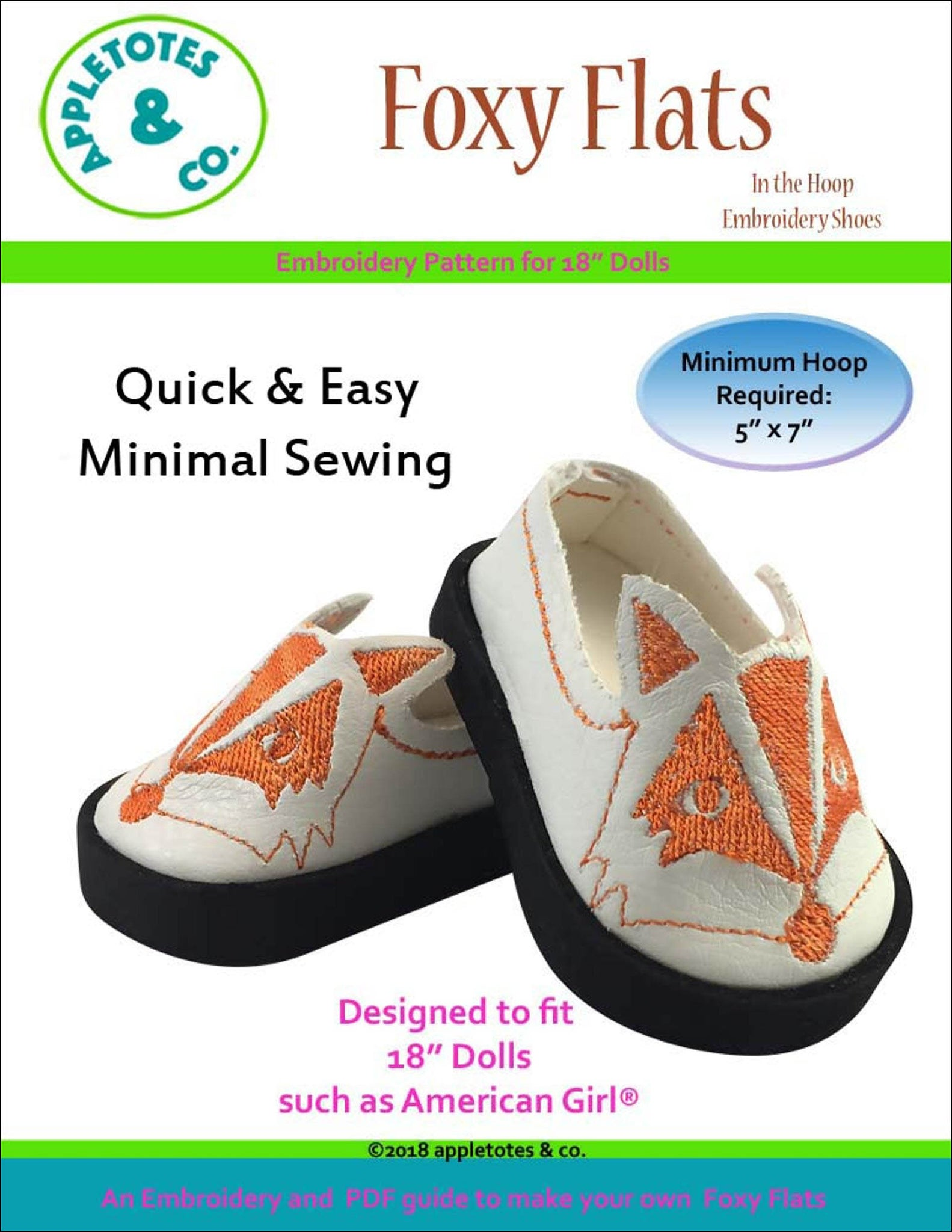 "Foxy Flats ITH Embroidery Patterns for 18"" Dolls"