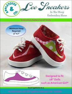 "Lee Sneakers ITH Embroidery Patterns for 18"" Dolls"