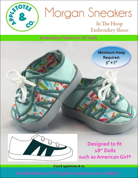"Morgan Sneakers ITH Embroidery Patterns for 18"" Dolls"