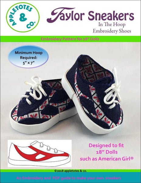 "Taylor Sneakers ITH Embroidery Patterns for 18"" Dolls"