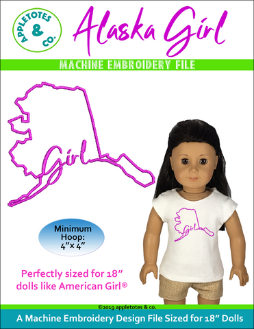 "Alaska Girl Machine Embroidery File for 18"" Dolls"