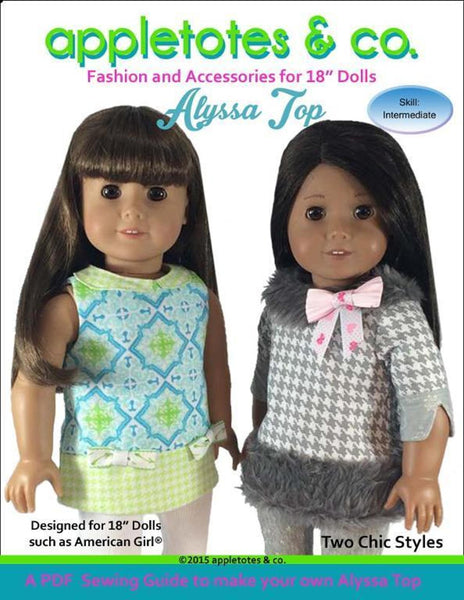 "Alyssa Top Sewing Pattern for 18"" Dolls"