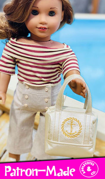 Hamptons Travel Bag Sewing Pattern for 18 Inch Dolls