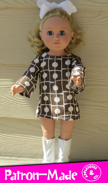 "Stevie 70s Dress Sewing Pattern for 18"" Dolls"