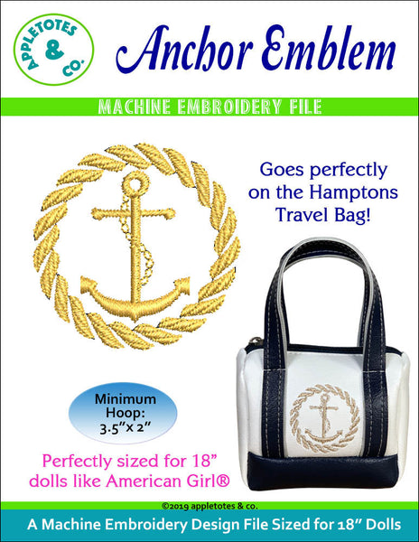 Anchor Emblem Machine Embroidery File for 18 Inch Dolls