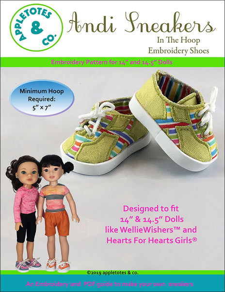 "Andi Sneakers ITH Embroidery Pattern for 14.5"" Dolls"