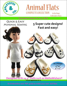 "Animal Flats Collection ITH Embroidery Patterns for 14.5"" Dolls"