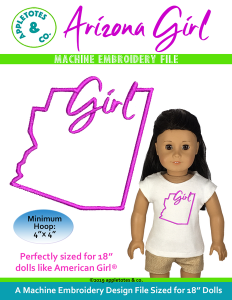 "Arizona Girl Machine Embroidery File for 18"" Dolls"