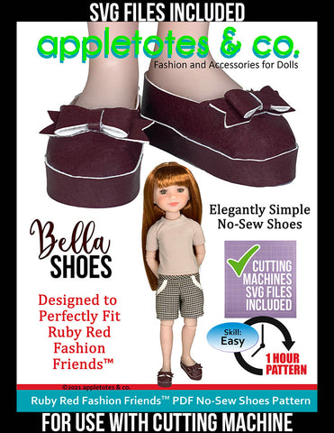 No-Sew Bella Shoes Ruby Red Fashion Friends™ Pattern - SVG Files Included