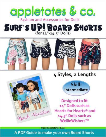 Surf's Up Board Shorts Sewing Pattern for 14.5 Inch Dolls