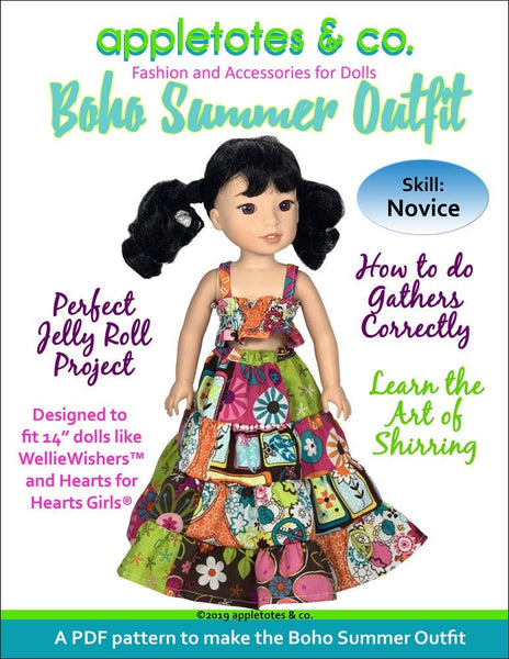 "Boho Summer Outfit Sewing Pattern for 14.5"" Dolls"