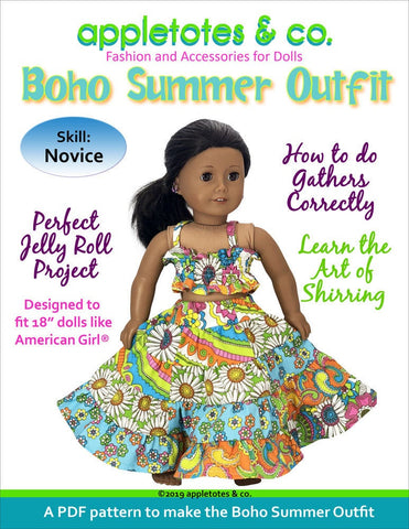 Boho Summer Outfit and Macy Tote Sewing Pattern Bundle for 18