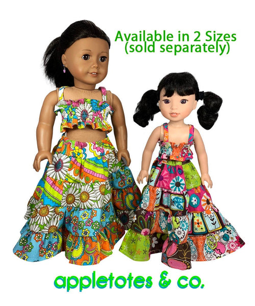 "Boho Summer Outfit Sewing Pattern for 18"" Dolls"