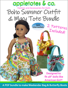 "Boho Summer Outfit and Macy Tote Sewing Pattern Bundle for 18"" Dolls"