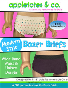 Boxer Briefs Sewing Pattern for 18 Inch Dolls
