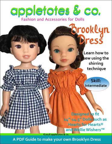"Brooklyn Dress Sewing Pattern for 14"" Dolls"