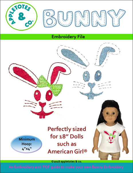 "Bunny Machine Embroidery File for 18"" Dolls"