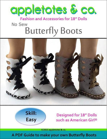 "Butterfly Boots Sewing Pattern for 18"" Dolls"