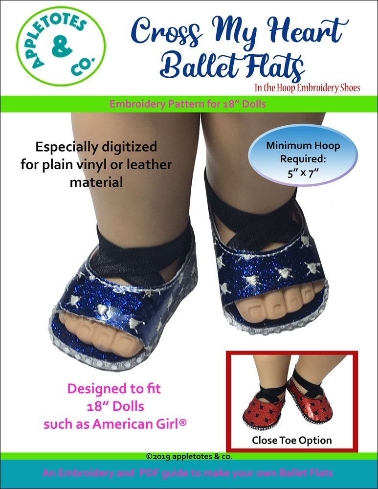 "Cross My Heart Ballet Flats ITH Embroidery Patterns for 18"" Dolls"