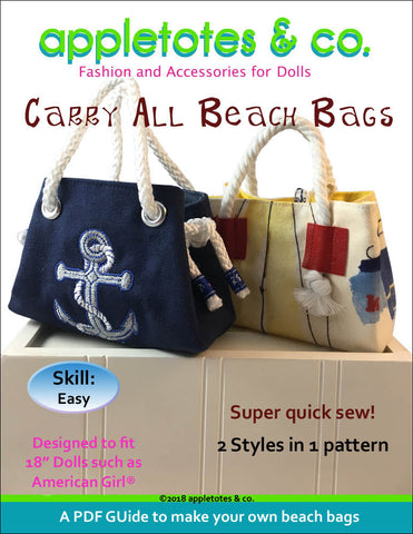 "Carry All Beach Bags Sewing Pattern for 18"" Dolls"