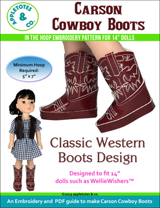 "Carson Cowboy Boots ITH Embroidery Patterns for 14"" Dolls"