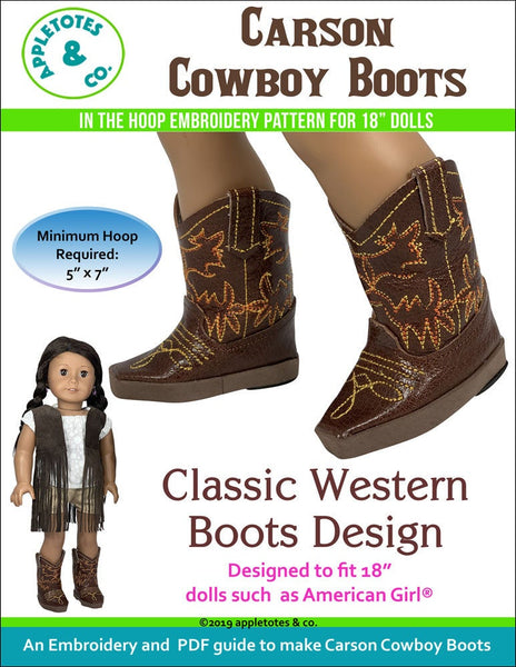 "Carson Cowboy Boots ITH Embroidery Patterns for 18"" Dolls"