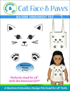 Cat Face and Paws Machine Embroidery File for 18 Inch Dolls